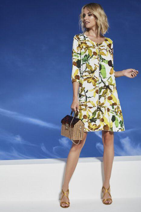 luźna sukienka z ekspresem z przodu ze wzorem roślinnym