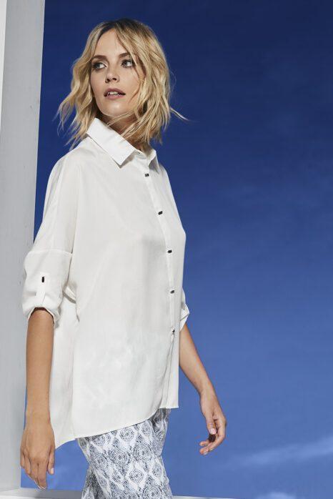 kimonowa koszula z białej tkaniny