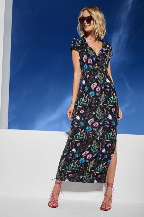 długa sukienka z dzianiny z wielokolorowym printem roślinnym