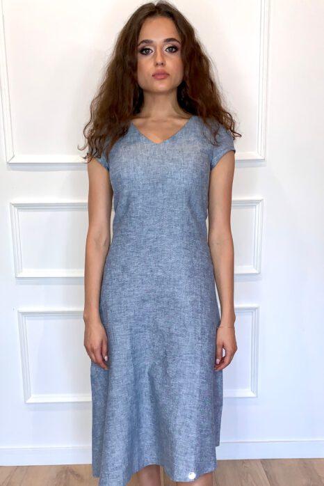 niebieska sukienka z lnu na lato