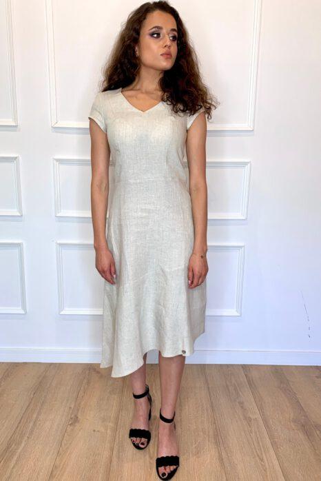 piaskowa sukienka z lnu na upały