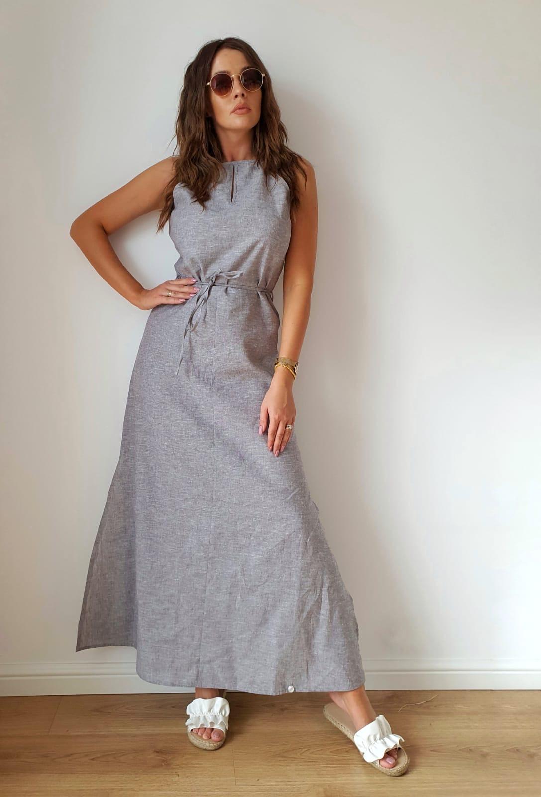 długa sukienka z szarego lnu 100%