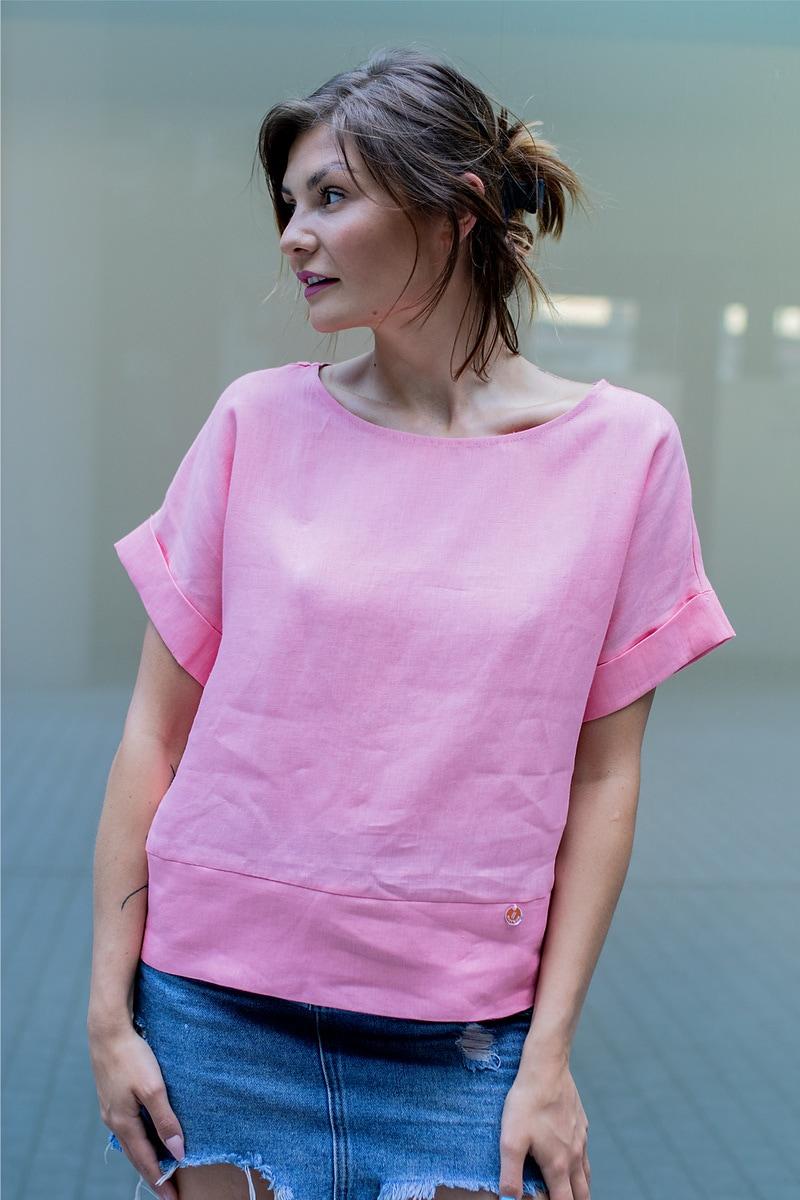 różowa bluzka z lnu 100%
