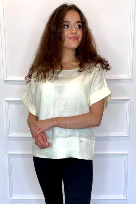 bluzka z lnu z krótkim rękawem w kolorze słonecznym