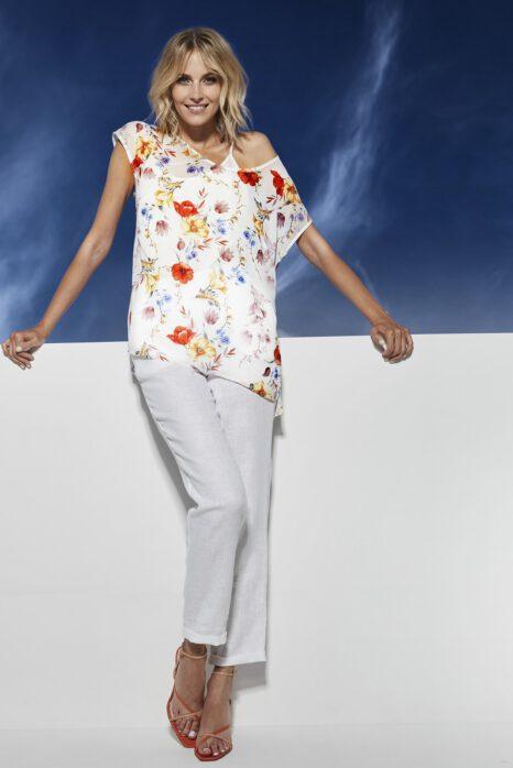 Długie spodnie z białego lnu 100%