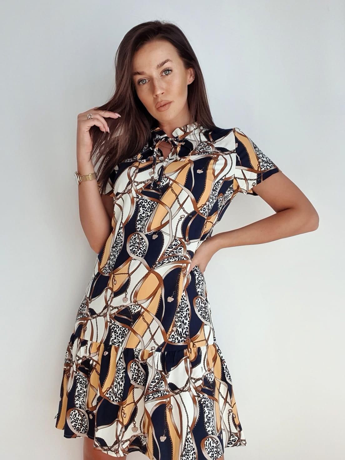 wzorzysta krótka sukienka z wiskozy