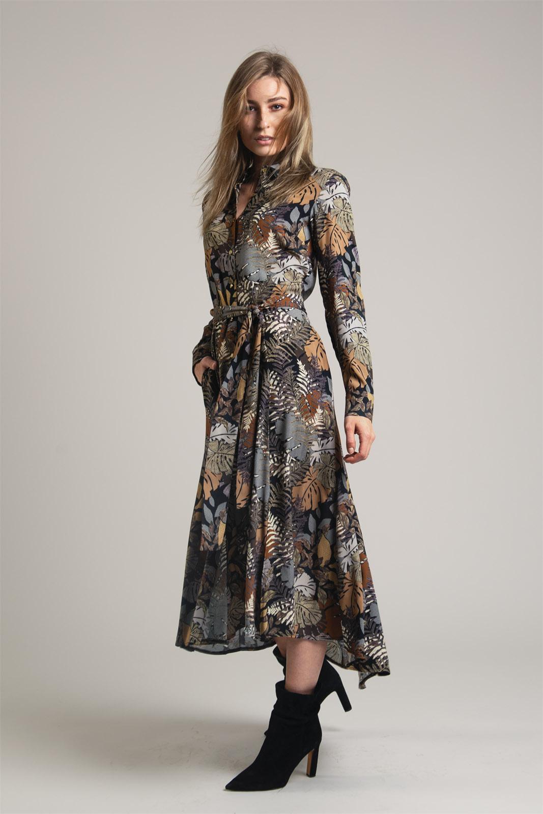 sukienka midi na guziki z motywem roślinnym