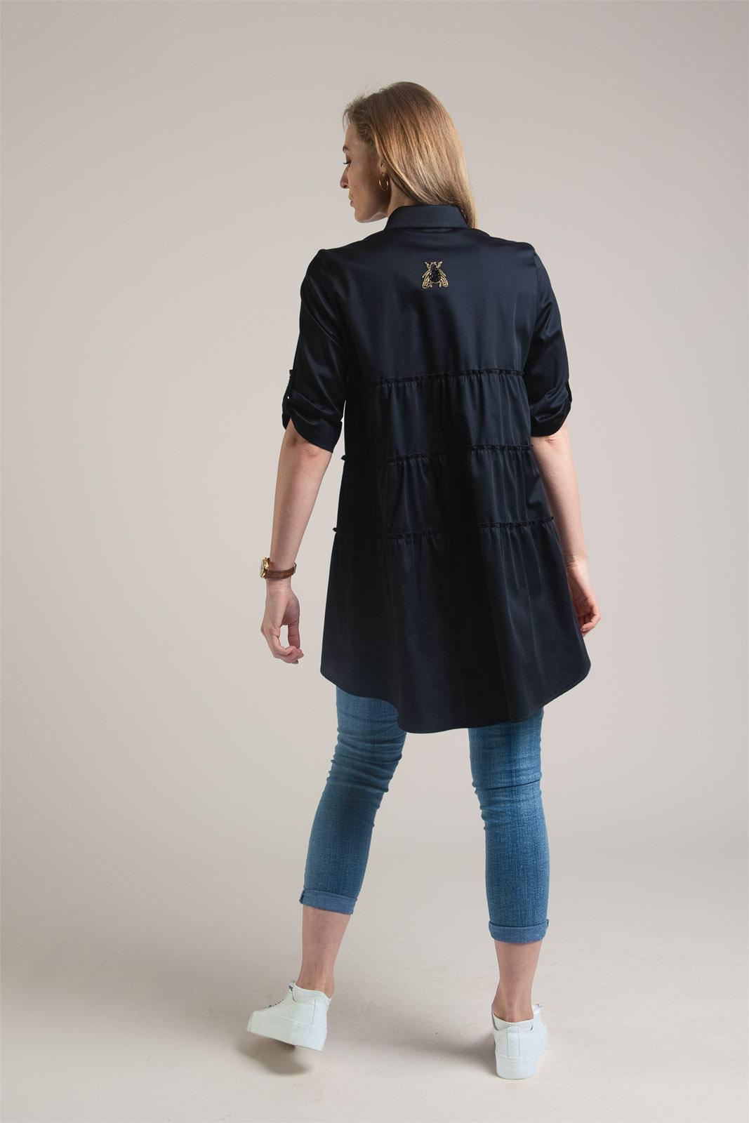 oryginalna czarna długa koszula damska z bawełny