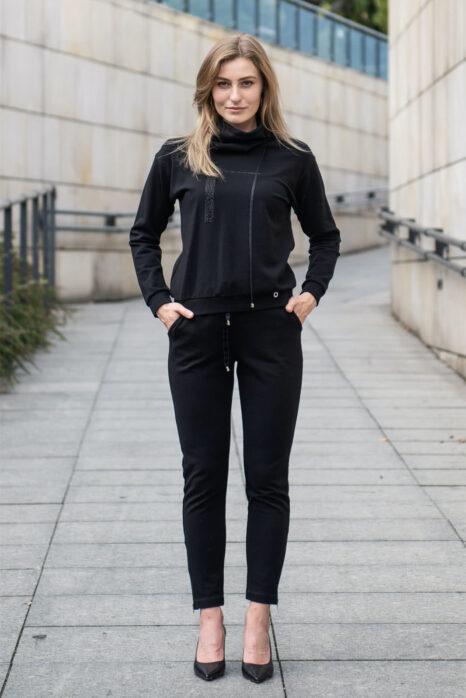 dresowe damskie spodnie z mięsistej czarnej dzianiny
