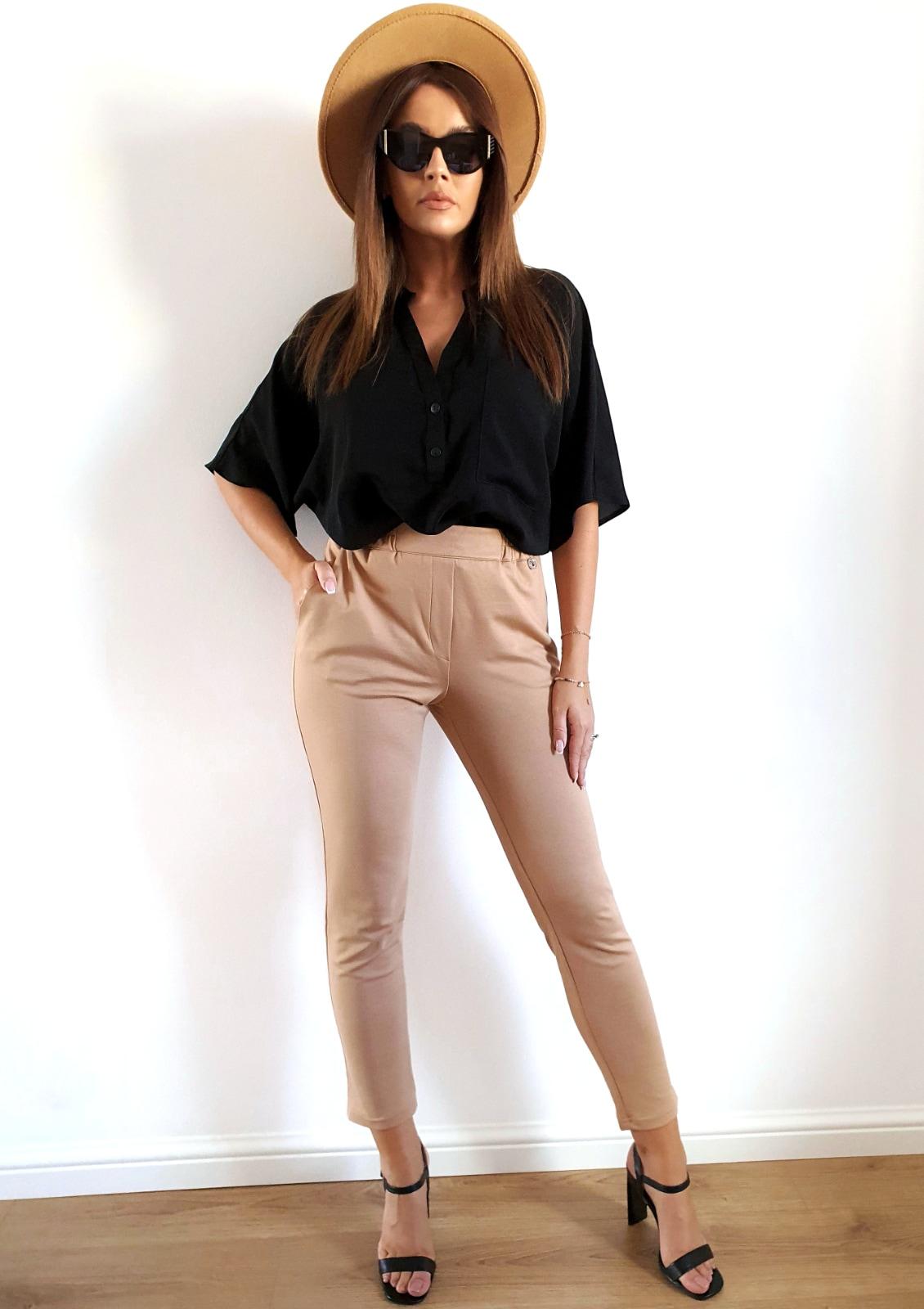 beżowe elastyczne spodnie damskie